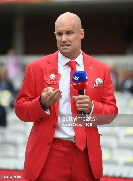 Former England captain Andrew Strauss during day two of the Second LV= Insurance Test Match between England and India at Lord's Cricket Ground on...