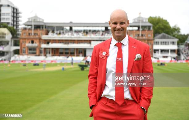 Former England captain Andrew Strauss in his Red for Ruth suit ahead of day two of the Second LV= Insurance Test Match between England and India at...