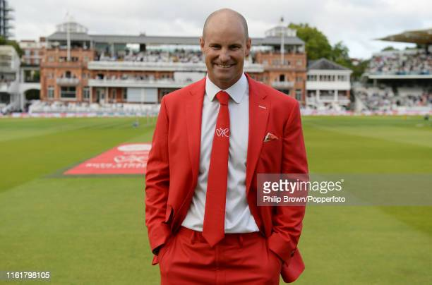 Former England captain Andrew Strauss poses for a photograph dressed in a red suit before Ruth Strauss day, the second day of the second Specsavers...