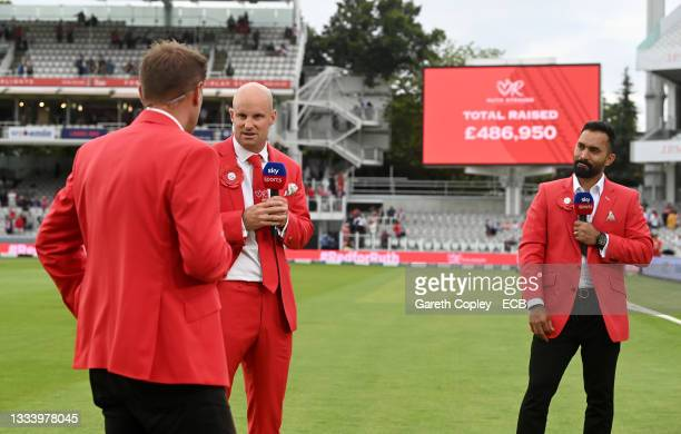 Former England captain Andrew Strauss speaks to Sky Sports as the final Red for Ruth fundraising total is announced at stumps on day two of the...