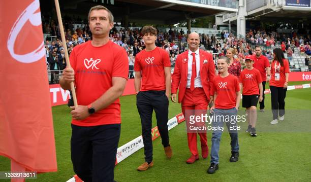 Former England captain Andrew Strauss walks round with sons Sam and Luca ahead of day two of the Second LV= Insurance Test Match between England and...