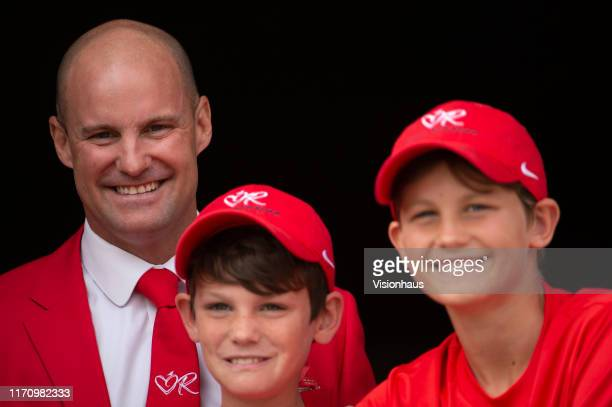 Former England Captain Andrew Strauss with his sons Luca and Samuel as they wait to ring the Five Minute Bell at Lord's prior to day two of the 2nd...