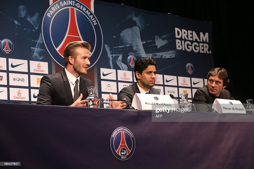 Former England captain David Beckham (L) speaks on January 31, 2013 during a press conference with Paris Saint-Germain's Qatari president Nasser Al-Khelaifi (C) and PSG's Sports Director Leonardo at the Parc des Princes stadium in Paris. Beckham on January 31 signed a five-month deal with the Ligue 1 leaders until the end of June.