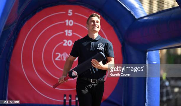 Former England captain James Taylor bats in a game of street cricket during the Cricket World Cup 2019 Volunteers Launch event at Victoria Square on...