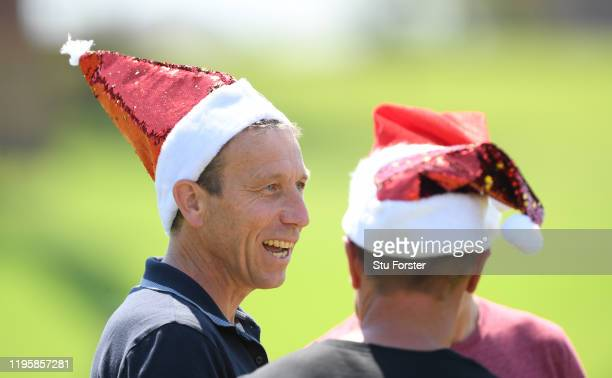 Former England captain Journalist and Broadcaster Michael Atherton dons a Santa hat during an England nets session ahead of the First Test Match...