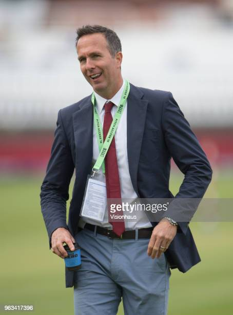 Former England Captain Michael Vaughan during Day One of the 1st NatWest Test Match between England and Pakistan at Lord's Cricket Ground on May 24...