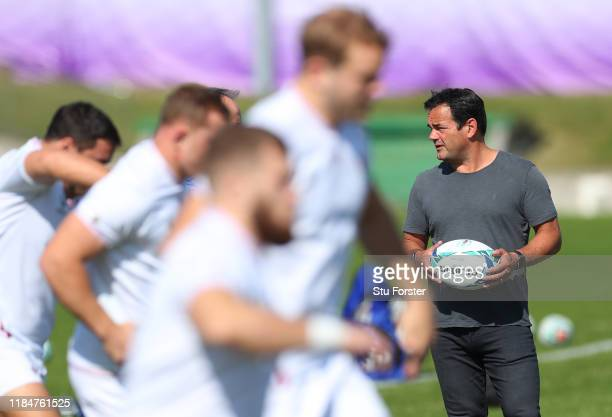 Former England captain Will Carling looks on during England captains run ahead of the 2019 Rugby World Cup Final at Fuchu Asahi Football Park on...
