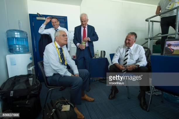 Former England Captains and current Sky Sports commentators Michael Atherton Bob Willis David Gower and Ian Botham during day two of the 1st Investec...
