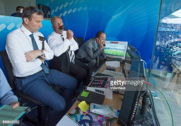 Former England captains and current Sky Sports commentators Michael Atherton Sir Ian Botham and Nasser Hussain during day two of the 1st Investec...