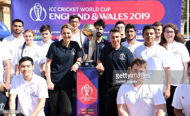 Former England captains James Taylor and Charlotte Edwards pose Cricketeers and the Cricket World Cup during the Cricket World Cup 2019 Volunteers...