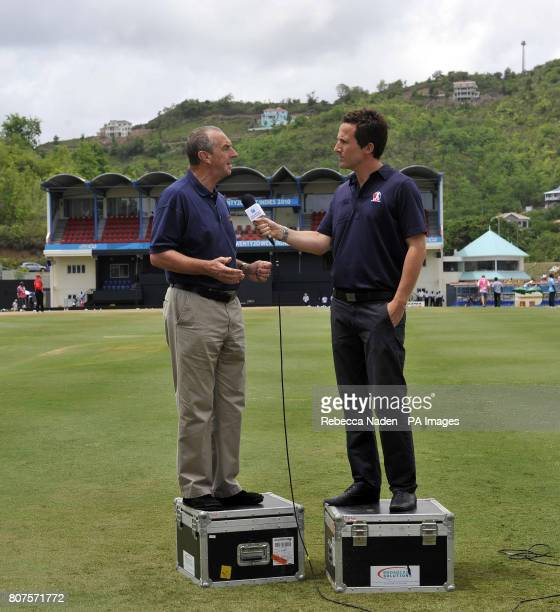 Former England coach David Lloyd is interviewed by Sky television presenter Adam Leventhal before the ICC World Twenty20 Semi Final match at the...