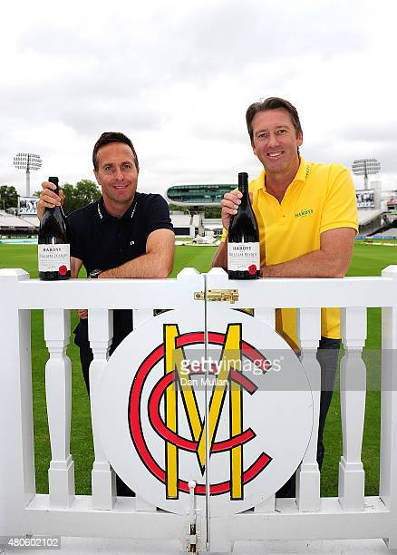 Former England Cricket Captain Michael Vaughan and Former Australian Cricketer Glenn McGrath pose ahead of the 2nd Ashes Test Match at Lord's Cricket...