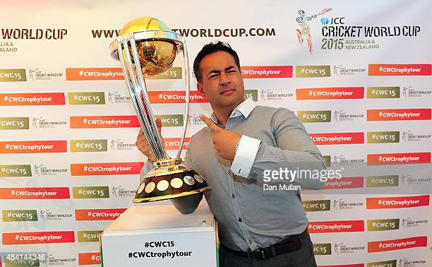 Former England Cricketer Adam Hollioake poses with the ICC Cricket World Cup Trophy during the NatWest T20 Blast Final at Edgbaston on August 23 2014...