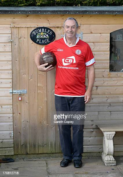 Former England cricketer and television commentator David 'Bumble' Lloyd wearing his Accrington Stanley football shirt at his home on April 23 2013...