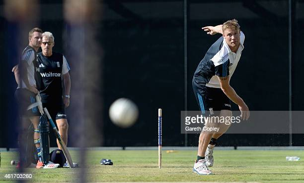 Former England cricketer Andrew Flintoff bowls during a nets session at The Gabba on January 18 2015 in Brisbane Australia