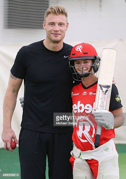 Former England cricketer Andrew Flintoff poses with friend and Women's Melbourne Renegades BBL cricketer Danni Wyatt during a nets session at...