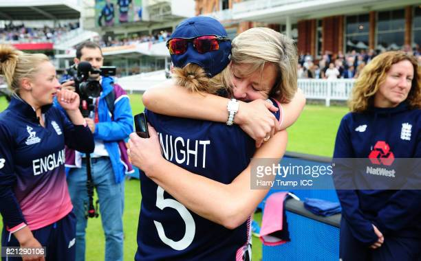 Former England Cricketer Clare Connor hugs Heather Knight of England during the ICC Women's World Cup 2017 Final between England and India at Lord's...