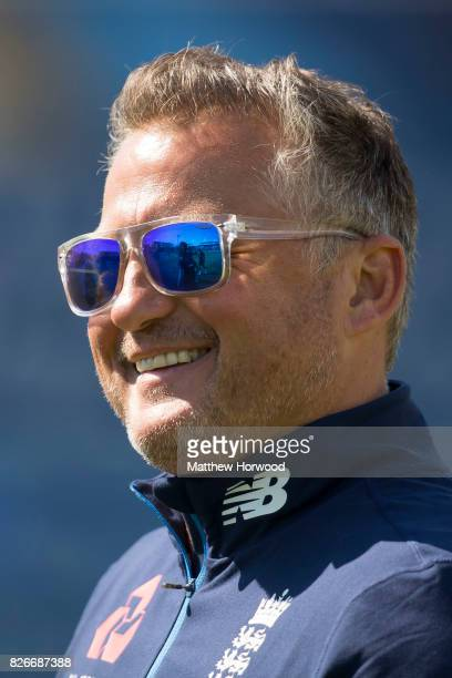 Former England cricketer Darren Gough smiles during England U19 cricket training at the SSE Swalec Stadium on August 5 2017 in Cardiff Wales The...