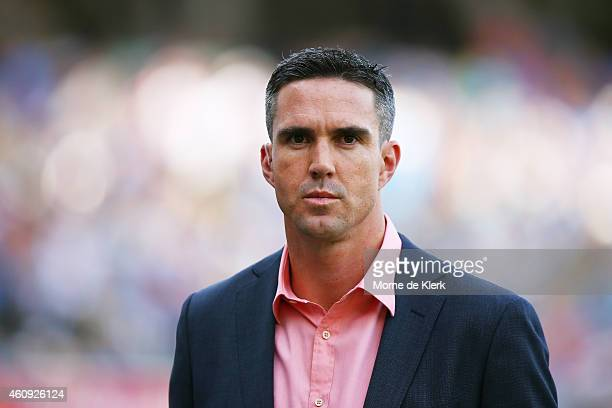 Former England cricketer Kevin Pietersen as a television presenter during the Big Bash League match between the Adelaide Strikers and the Hobart...