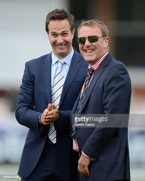 Former England cricketer Michael Vaughan and Phil Tufnell joke around during day one of 3rd Investec Test match between England and South Africa at...