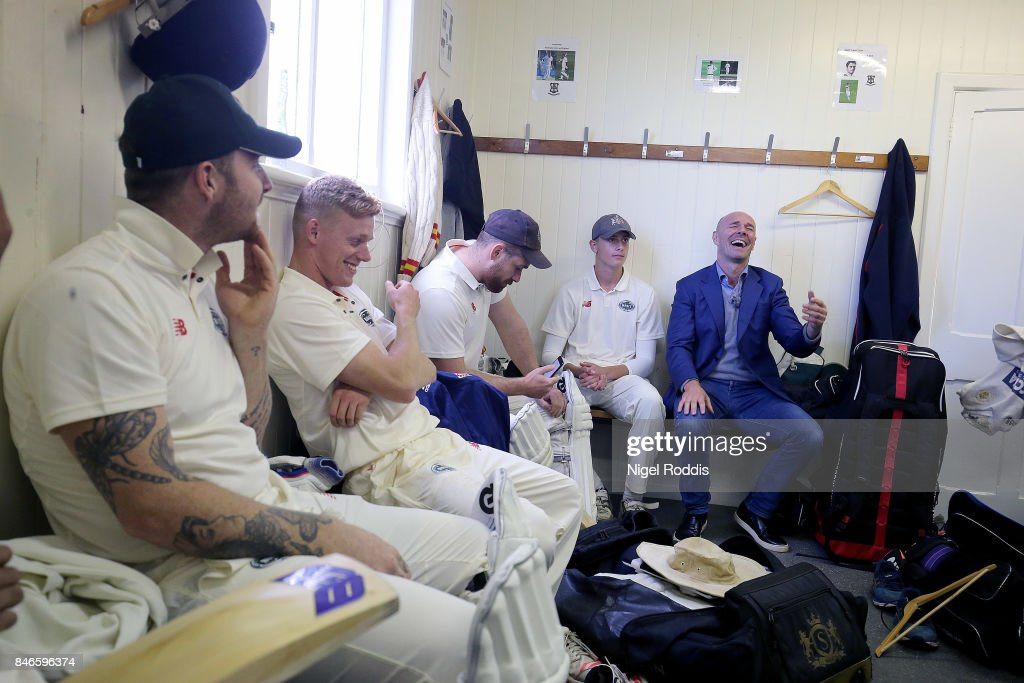 Former England cricketer Paul Nixon (R) during the Brut T20 Cricket match betweenTeam Jimmy and Team Joe at Worksop College on September 13, 2017 in Worksop, England.