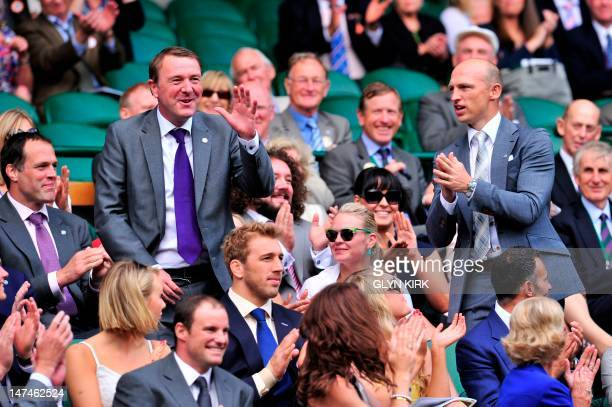 Former England cricketer Phil Tufnell and Former England rugby union player Matt Dawson in the Royal Box on Centre Court on day six of the 2012...