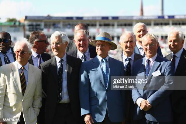 Former England cricketers Bob Taylor Mike Brearley, Geoff Boycott and Dennis Amis look on during celebrations for the fiftieth Edgbaston Test Match...