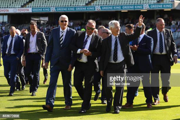 Former England cricketers Bob Willis Sir Ian Botham and Mike Brearley during a lap of honour to celebrate the fiftieth Edgbaston Test Match during...