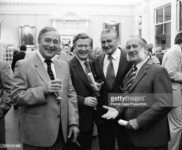 Former England cricketers Denis Compton and Godfrey Evans with former Australia all-rounder Keith Miller and former Hampshire captain Colin...