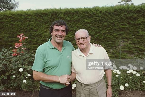 Former England fast bowler Fred Trueman meets former Australia batsman Sir Donald Bradman in Adelaide in 1982.