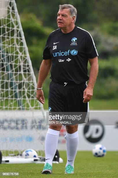 Former England football manager and England celebrity team manager Sam Allardyce attends a team training session in south London on June 7 ahead of...