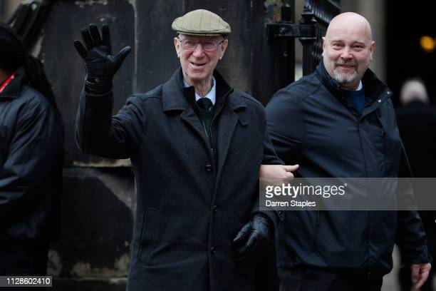 Former England football player Jack Charlton attends the funeral of 1966 World Cup and former Stoke City Goalkeeper Gordon Banks on March 04 2019 in...
