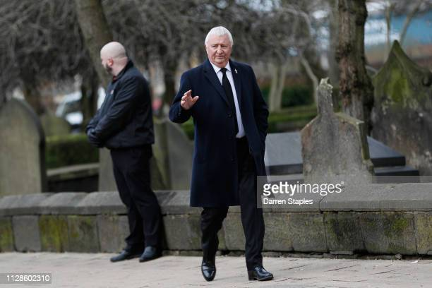 Former England football player Mike Summerbee attends the funeral of 1966 World Cup and former Stoke City Goalkeeper Gordon Banks on March 04 2019 in...