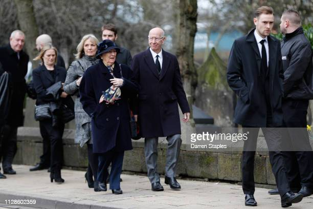 Former England football player Sir Bobby Charlton attends the funeral of 1966 World Cup and former Stoke City Goalkeeper Gordon Banks on March 04...