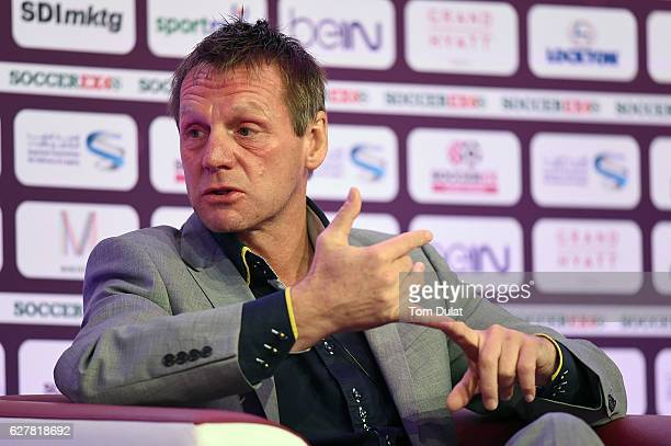 Former England football player Stuart Pearce speaks during day two of Soccerex Asia on December 5 2016 in Doha Qatar