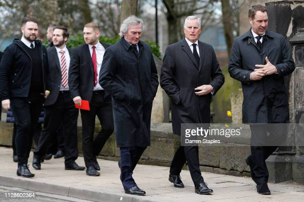 Former England football players Pat Jennings Ray Clemence and David Seaman attend the funeral of 1966 World Cup and former Stoke City Goalkeeper...
