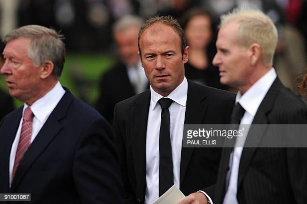 Former England footballer Alan Shearer , Manchester United manager Sir Alex Ferguson and former England footballer Paul Gascoigne leave a...