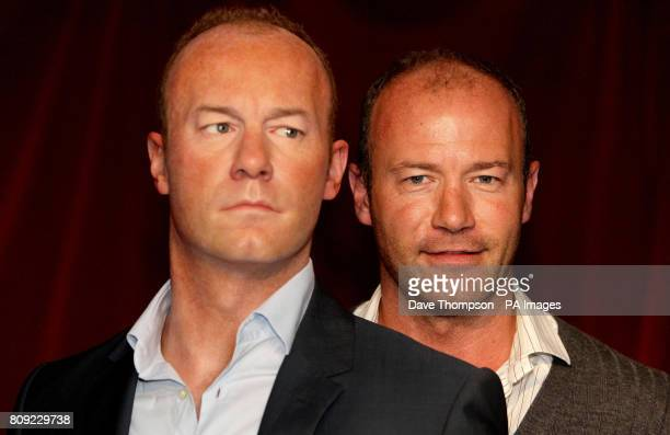 Former England footballer Alan Shearer stands next to a wax figure of himself at Madame Tussauds in Blackpool