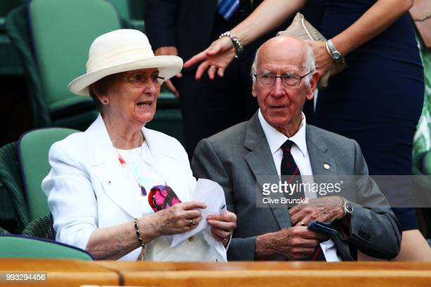 07 Former England footballer Bobby Charlton and his wife Norma attend day six of the Wimbledon Lawn Tennis Championships at All England Lawn Tennis...