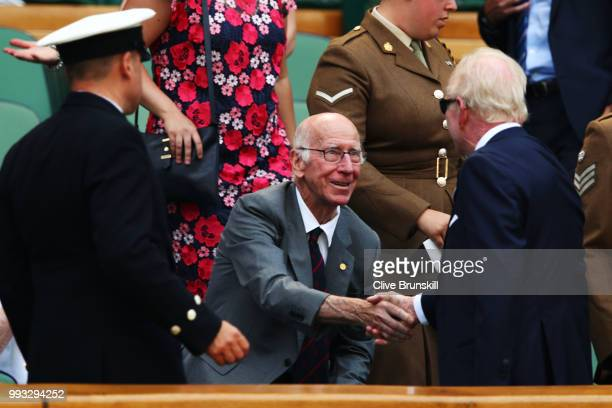 07 Former England footballer Bobby Charlton attends day six of the Wimbledon Lawn Tennis Championships at All England Lawn Tennis and Croquet Club on...