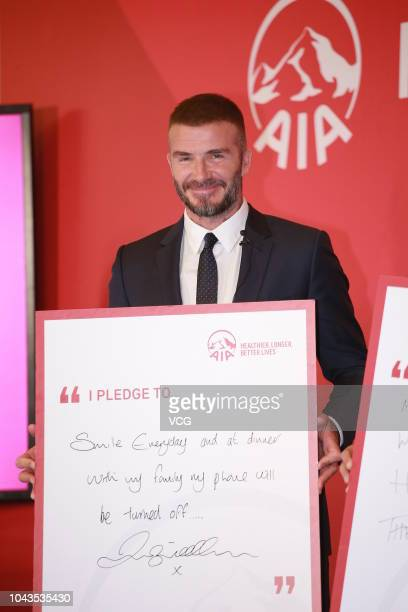 Former England footballer David Beckham attends an AIA Group press conference at the Central on September 24 2018 in Hong Kong China
