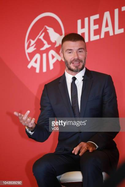 Former England footballer David Beckham speaks during an AIA Group press conference at the Central on September 24 2018 in Hong Kong China