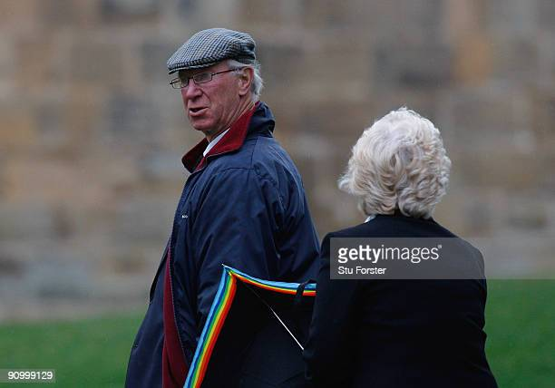 Former England footballer Jack Charlton arrives before the Sir Bobby Robson Memorial Service at Durham Cathedral on September 21 2009 in Durham...