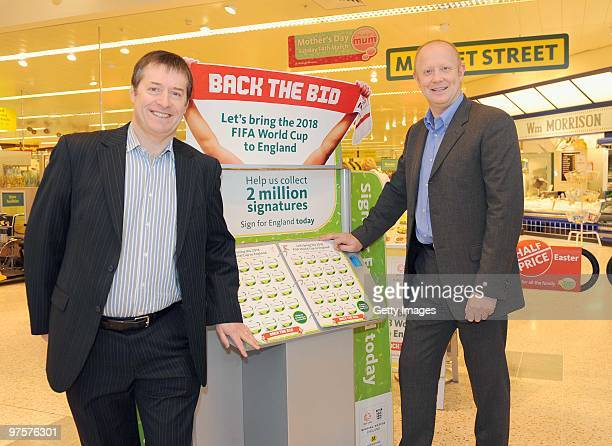 Former England footballer Mark Wright and Neil Peterson Liverpool City Council's International Commercial Manager pose during a photo call to promote...