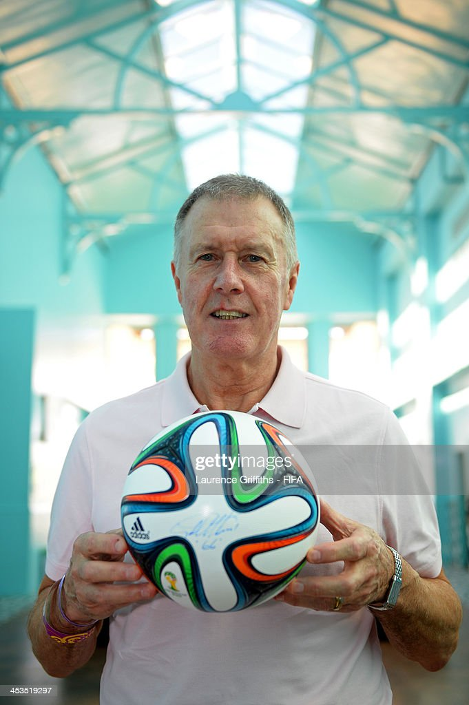 Former England footballer Sir Geoff Hurst poses with the adidas Brazuca, official match ball for the 2014 FIFA World Cup Brazil during previews ahead of the Final Draw for the 2014 FIFA World Cup at Costa do Sauipe Resort on December 4, 2013 in Costa do Sauipe, Brazil.
