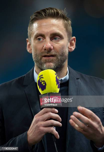 Former England goalkeeper Robert Green commentating before the Premier League match between Manchester City and Chelsea FC at Etihad Stadium on...