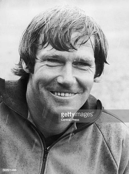Former England international goalkeeper Tony Waiters manager of Plymouth Argyle FC pictured in the rain August 1976