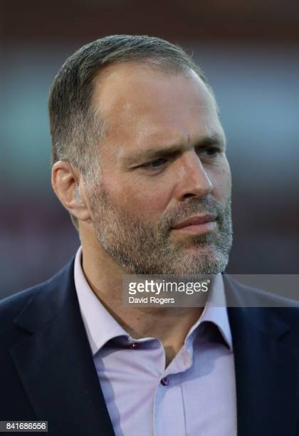 Former England international now BT Sport rugby presenter Martin Bayfield looks on during the Aviva Premiership match between Gloucester Rugby and...