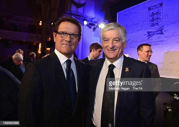 Former England manager Fabio Capello poses with FA Chairman David Bernstein during the official launch to mark the FA's 150th Anniversary Year at the...