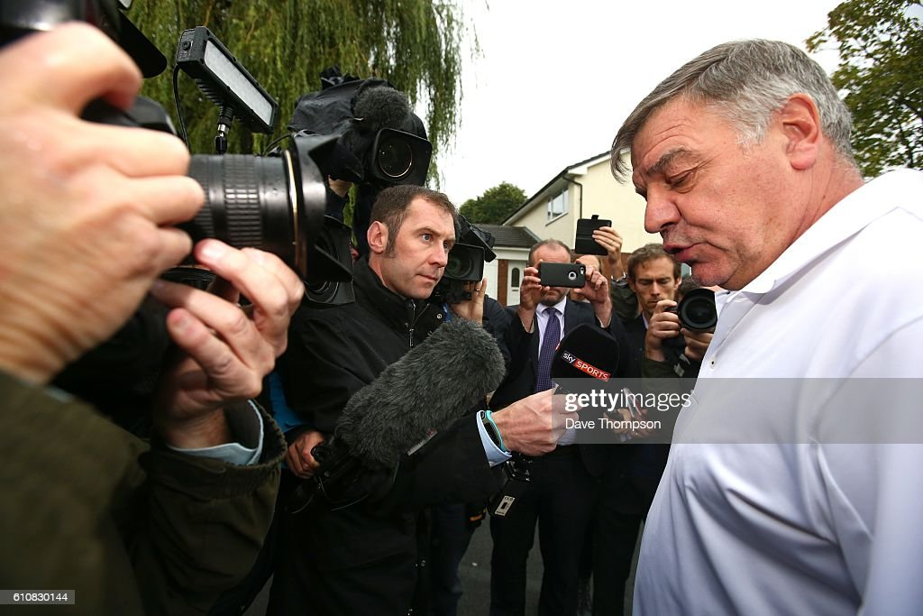 Former England manager Sam Allardyce speaks to the media as he leaves his family home on September 28, 2016 in Bolton, England. Allardyce left his position as the national football manager after only one match in charge following allegations made by a national newspaper.
